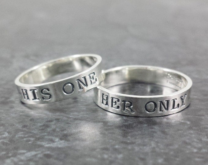 Featured listing image: 14k White Gold Wedding Band Set - His One Her Only Wedding Rings - Hand Stamped ring set - Wedding rings - Anniversary
