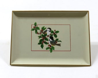 Vintage Serving Tray for Christmas, Chickadee Birds Wildlife Design Holly Holiday Celebration Serving Plate Food Feast and Dinner 6x8x.5