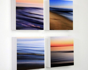 Beach Sunsets, Abstract Seascapes, Sand And Ocean, Seashore Decor, Bright Color, 5X5 Photo Blocks, Modern Wall Decor