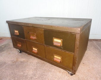 Industrial Coffee Table Storage Organizer Trunk File Drawers Rolling Casters Steel