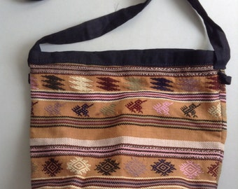 Boho, Hippie, Small embroidered bag,  purse, tote. New old stock. Neutral Colors.