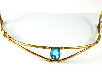 Golden Brass half Crown with Bright Blue Sparkle Stone- swirl and pointy tiara for costume & abstract statement necklace