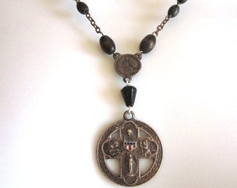 Sterling Cross Rosary Necklace Religious Assemblage Rare Vintage Sterling Medal Gutta Percha Rosary