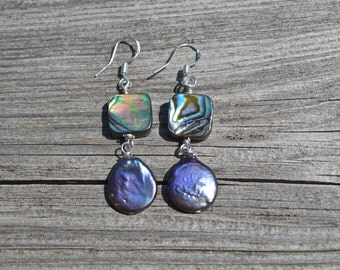Abalone and pearl earrings, abalone jewlery, beach wedding, beach wedding jewelry