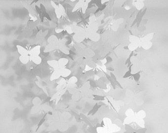 White butterfly nursery mobile, nursery decor, room decor, wedding decor