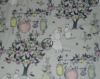 NEW 2014 Tove 100 years Moomin cotton fabric  Party Moomin, grey