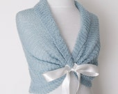 Blue Mohair Bridal Wedding Romantic Capelet Shawl-Felted Brooch-Ready for shipping