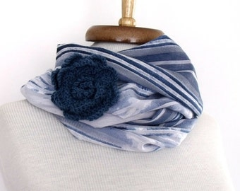 Blue White Striped Scarf Shawl Neckwarmer With Flower Brooch-Ready For Shipping
