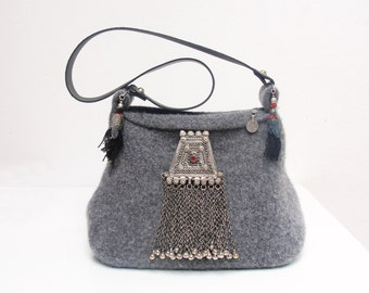 Belly dancer Bag Gypsy Kuchi Purse Knitted Felted Wool Bag with Vintage Ethnic finds