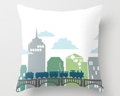 Train and Bridge Blues and Greens Throw Pillow Cover Case 16X16 or 18x18 Or 20x20 Hidden Zipper