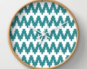 Turqoise Zigzag Wall Clock 10 inch Diameter