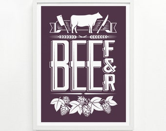 Gifts for Him or for Her, Foodie Gift, Kitchen Decor, Housewarming Gift - Beef & Beer Screenprint Poster:
