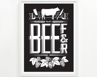 Foodie Gift for Her, Food Gift for Him, Chef Gift, Food Poster Kitchen Decor, Foodie Gift Ideas - Beef & Beer Poster 12 x 16: