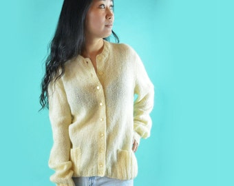 Womens White Cardigan Sweater 50s Vintage Hand Knit Oversized Button Cardigan Sweater 1950s Handmade Loose Knitted Cream Cardigan S / M / L