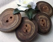 4 Mulberry Wood Wooden Tree Branch Buttons with Bark - Rustic Wood Buttons - 1 7/8 x 1 5/8 inches, For hand knits, journals, pillows