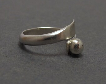 Sterling Silver Wrap Ring, Contemporary, Modern, Pinky Ring, Metalwork, Made to Order, Handmade by RiverGum Jewellery