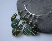 Olive Green Sea Glass Pendant Necklace - Sterling Silver Wire Wrapped