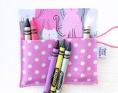 Mini Crayon Case - Here Kitty Kitty - holds 8 - 10 crayons  cat party favor orchid crayon roll kids gift easter basket