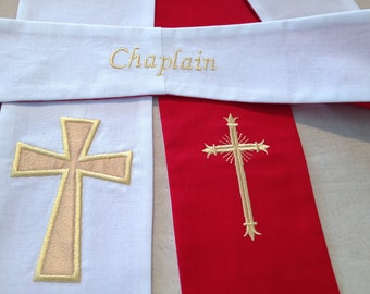 Reversible Clergy Stole in Red and White