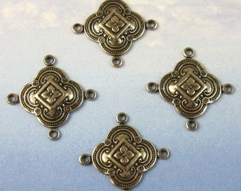 Earring Components Silver Chandelier 4 pcs Antique silver brass stampings jewelry findings M-120
