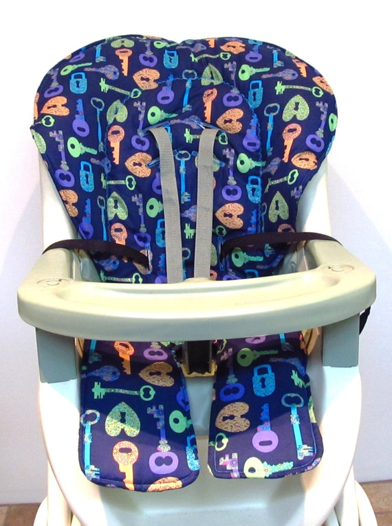 graco replacement high chair cover keys to my heart on navy. Black Bedroom Furniture Sets. Home Design Ideas