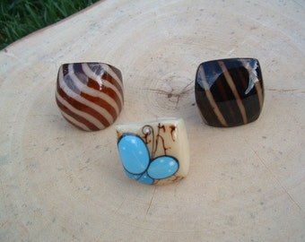 Tagua nut SIZE 8 Glossy rings handpainted abstract designs and butterflies