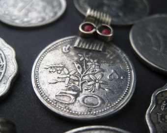 8 Old Coin Pendants - Afghani Silver Pendant - Jewelry Making Supplies - Made in Afghanistan ** (PND-AFG-100)
