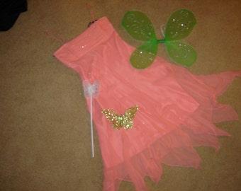 fairy princess apricot silk chiffon floaty dress green wings headpiece wand womens sz 4  Halloween Costume