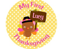 BABY'S FIRST THANKSGIVING Iron On Transfer - Personalized Iron On Transfer With Turkey - My First Thanksgiving - Turkey Iron On Transfer T3