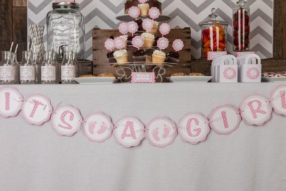 Items similar to pink baby feet baby shower decorations for Baby feet decoration