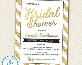Bridal Shower Invitation - Gold and Classy