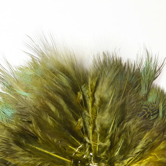 Ringneck Pheasant Strung Feathers, Rump Hackle - Dyed Olive (40-50pcs)