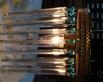Dramatic Ceiling Light with glass rods, Brass light with turquoise and glass