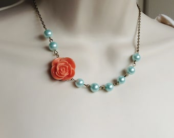 Coral and Mint Flower Necklace. Green. Salmon. Turquoise. Bridesmaid Necklace. Bridal Jewelry. Rose. Turquoise Necklace. Peach