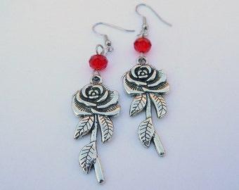Long Antique Style Victorian Rose Dangle Earrings