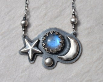 Rainbow Moonstone and SterlingSilver Necklace with Blue Flash Star and Moon