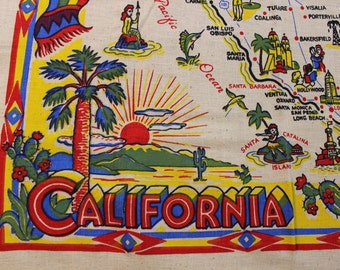 California Souvenir Map Tablecloth State VINTAGE by Plantdreaming