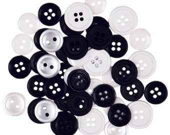 Favorite Findings Flatback Buttons 430----Black and White----New in Package