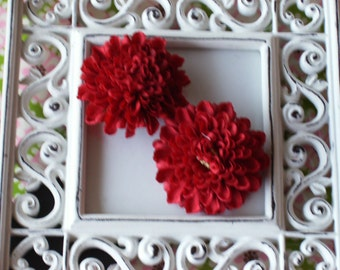 2 inch Pom Pom Mum Silk Flowers-----Red-----Set of 2