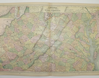 Vintage Virginia Map West Virginia Illinois Map 1898 State Map, Parkersburg WV Map, Vintage Art Map, 1st Anniversary Gift for Couple, VA Map