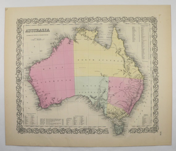 Australian Wedding Anniversary Gifts By Year: Australia Map Tasmania 1856 Colton Map 1st Anniversary Gift