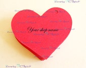 "75 Personalized Heart Tag Size 2""- In Non-Textured or Textured Cardstock Paper"