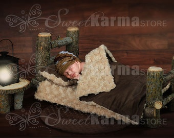 Log Newborn Bed with Wood Background (Many Options) Digital Prop Photoshop PSD File 472