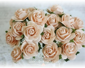 Mulberry Roses~Light Peach~ Set of 20 for Scrapbooking, Cardmaking, Altered Art, Wedding, Mini Album