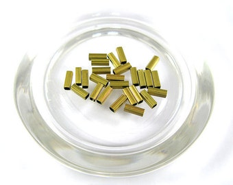 Brass beads Square Tube shape (100 pcs.)