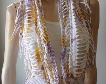 womens shredded braided fringe recycled upcycled jersey eternity scarf , tshirt necklace. tshirt scarf. tiedye