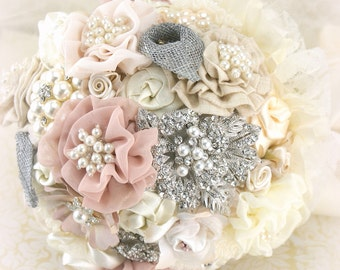 Brooch Bouquet, Ivory, Silver, Blush Bouquet, Wedding, Bridal, Jeweled, Fabic, Linen, Lace, Calla Lilies, Crystals, Pearls, Vintage Wedding