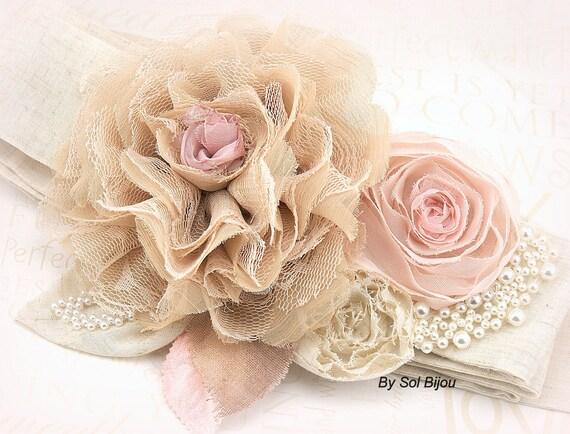 Sash, Tan, Blush, Pink, Pearl Sash, Lace Sash, Elegant Wedding, Vintage Style, Shabby Chic, Lace, Linen Sash, Rustic, Pearls, Burlap