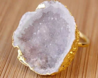 Ice White Druzy Crystal Rings - Choose Your Druzy Ring - One of a Kind