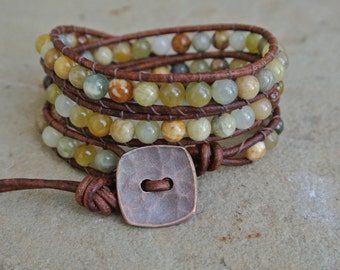 Juniper Jasper Beaded Leather Wrap Bracelet